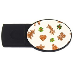 Cute Christmas Seamless Pattern  Usb Flash Drive Oval (4 Gb)  by Onesevenart