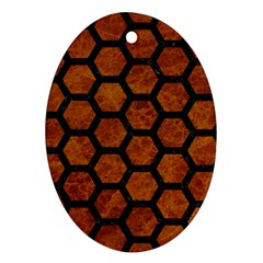Hexagon2 Black Marble & Brown Marble (r) Oval Ornament (two Sides)