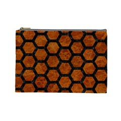 Hexagon2 Black Marble & Brown Marble (r) Cosmetic Bag (large) by trendistuff