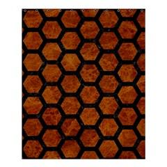 Hexagon2 Black Marble & Brown Marble (r) Shower Curtain 60  X 72  (medium) by trendistuff