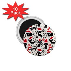 Cute Cat Christmas Seamless Pattern Vector  1 75  Magnets (10 Pack)  by Onesevenart