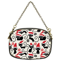 Cute Cat Christmas Seamless Pattern Vector  Chain Purses (two Sides)  by Onesevenart