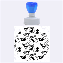 Cute Cat Christmas Seamless Pattern Vector  Rubber Round Stamps (large) by Onesevenart