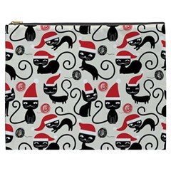 Cute Cat Christmas Seamless Pattern Vector  Cosmetic Bag (xxxl)  by Onesevenart