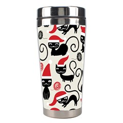 Cute Cat Christmas Seamless Pattern Vector  Stainless Steel Travel Tumblers by Onesevenart