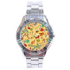 Cute Christmas Seamless Pattern Vector Stainless Steel Analogue Watch by Onesevenart