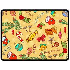 Cute Christmas Seamless Pattern Vector Double Sided Fleece Blanket (large)  by Onesevenart