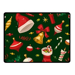 Cute Christmas Seamless Pattern Double Sided Fleece Blanket (Small)  by Onesevenart