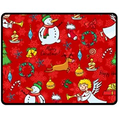 Cute Christmas Seamless Pattern Vector  Fleece Blanket (medium)  by Onesevenart