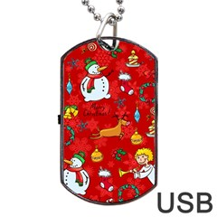 Cute Christmas Seamless Pattern Vector  Dog Tag USB Flash (One Side) by Onesevenart
