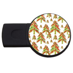 Cute Christmas Seamless Pattern Vector    Usb Flash Drive Round (2 Gb)  by Onesevenart