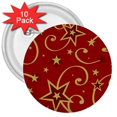 Elements Of Christmas Decorative Pattern Vector 3  Buttons (10 pack)  by Onesevenart