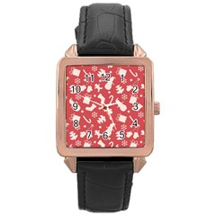 Pattern Christmas Elements Seamless Vector Rose Gold Leather Watch  by Onesevenart
