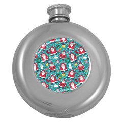 Cute Christmas Seamless Pattern Vector   Round Hip Flask (5 Oz) by Onesevenart