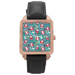 Cute Christmas Seamless Pattern Vector   Rose Gold Leather Watch  by Onesevenart