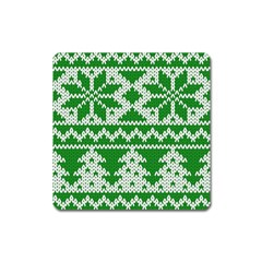 Knitted Fabric Christmas Pattern Vector Square Magnet by Onesevenart