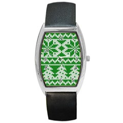 Knitted Fabric Christmas Pattern Vector Barrel Style Metal Watch by Onesevenart