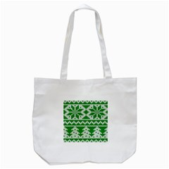 Knitted Fabric Christmas Pattern Vector Tote Bag (White) by Onesevenart