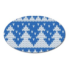 Knitted Fabric Christmas Pattern Vector Oval Magnet by Onesevenart