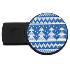 Knitted Fabric Christmas Pattern Vector Usb Flash Drive Round (4 Gb)  by Onesevenart