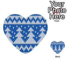 Knitted Fabric Christmas Pattern Vector Multi Purpose Cards (heart)  by Onesevenart