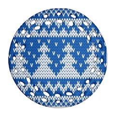 Knitted Fabric Christmas Pattern Vector Ornament (round Filigree)  by Onesevenart