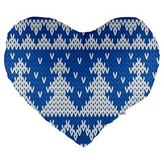 Knitted Fabric Christmas Pattern Vector Large 19  Premium Flano Heart Shape Cushions by Onesevenart