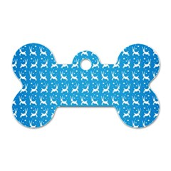 Reindeer Christmas Seamless Vector Dog Tag Bone (two Sides) by Onesevenart
