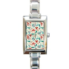 Pattern Christmas Elements Seamless Vector       Rectangle Italian Charm Watch by Onesevenart