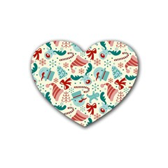 Pattern Christmas Elements Seamless Vector       Rubber Coaster (heart)  by Onesevenart