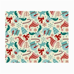 Pattern Christmas Elements Seamless Vector       Small Glasses Cloth (2 Side) by Onesevenart