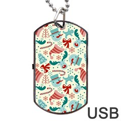 Pattern Christmas Elements Seamless Vector       Dog Tag Usb Flash (one Side) by Onesevenart