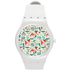 Pattern Christmas Elements Seamless Vector       Round Plastic Sport Watch (m) by Onesevenart