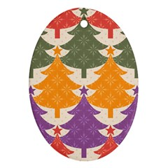 Tree Christmas Pattern Oval Ornament (two Sides) by Onesevenart