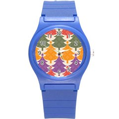 Tree Christmas Pattern Round Plastic Sport Watch (s) by Onesevenart