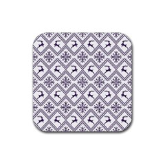 Simple Christmas Pattern Seamless Vectors  Rubber Square Coaster (4 Pack)  by Onesevenart