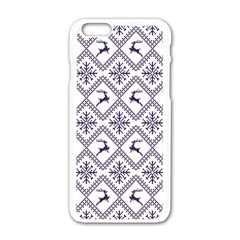 Simple Christmas Pattern Seamless Vectors  Apple Iphone 6/6s White Enamel Case by Onesevenart