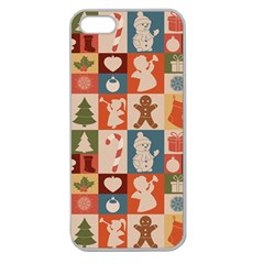 Xmas  Cute Christmas Seamless Pattern Apple Seamless Iphone 5 Case (clear) by Onesevenart