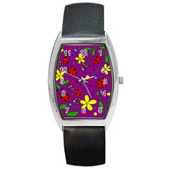 Ladybugs   Purple Barrel Style Metal Watch by Valentinaart