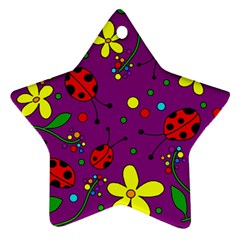 Ladybugs   Purple Star Ornament (two Sides)  by Valentinaart
