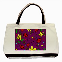 Ladybugs   Purple Basic Tote Bag (two Sides) by Valentinaart