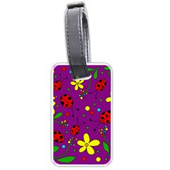 Ladybugs   Purple Luggage Tags (two Sides) by Valentinaart
