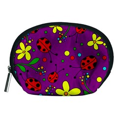 Ladybugs   Purple Accessory Pouches (medium)  by Valentinaart