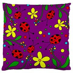 Ladybugs   Purple Standard Flano Cushion Case (two Sides) by Valentinaart