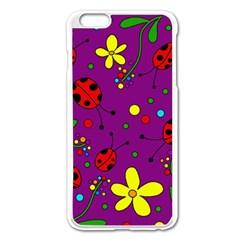 Ladybugs   Purple Apple Iphone 6 Plus/6s Plus Enamel White Case by Valentinaart