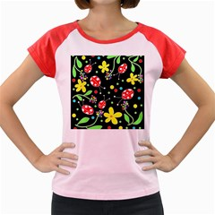 Flowers And Ladybugs Women s Cap Sleeve T Shirt by Valentinaart
