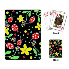 Flowers And Ladybugs Playing Card by Valentinaart