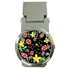 Flowers And Ladybugs Money Clip Watches by Valentinaart