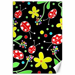 Flowers And Ladybugs Canvas 12  X 18   by Valentinaart