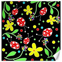 Flowers And Ladybugs Canvas 20  X 20   by Valentinaart